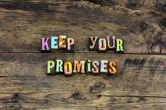 Utrzymanie obietnicy rzetelności prawości serca typografia obraz stock