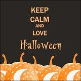 Utrzymanie spokojny i miłość Halloween Ręka rysująca z Halloweenowym wakacje Ilustracji