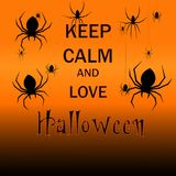 Utrzymanie spokojny i miłość Halloween Ręka rysująca z Halloweenowym wakacje Ilustracja Wektor