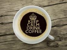 Utrzymanie spokojny i napój kawa Zdjęcie Royalty Free