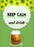 Utrzymanie spokojny i napoju piwo Fotografia Royalty Free