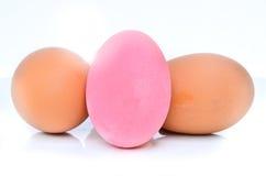 Utrzymany jajko, różowi jajka i brown jajka, obraz royalty free