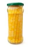 Utrzymany kukurydzany ucho w szklanym słoju Obrazy Royalty Free