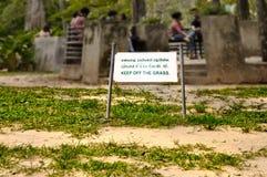 Utrzymuje z trawy podpisywać wewnątrz tropikalnego parka z biednym złym gazonem Obraz Royalty Free