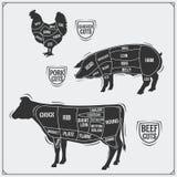 Uts de viande Poulet, porc et boeuf Type de cru Photo libre de droits