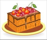 Uts?kt mat Ett stycke av den l?ckra chokladkakan S?tman dekoreras med b?r av jordgubbar och s?ta k?rsb?r royaltyfri illustrationer