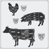 Uts of meat. Chicken, pork and beef. Vintage style. Black and white Royalty Free Stock Photo