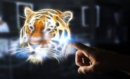 Utsatte för fara tingerillustrationen 3D för personen framför den rörande fractalen Royaltyfri Foto