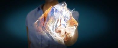 Utsatte för fara tingerillustrationen 3D för personen framför den rörande fractalen Royaltyfri Fotografi