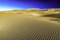 Utsikt för sanddyn under guld- timme Arkivbilder