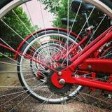 Utsikten av röda cykelhjul Royaltyfria Foton