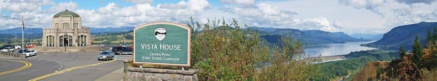 Utsikthus & Columbia klyfta, Oregon - panorama Arkivbilder