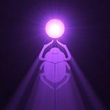utskjutande egyptiskt symbol för signalljusscarabsun Royaltyfri Foto