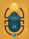 Utskjutande skarabé - ett symbol av forntida Egypten, geometrisk stil vektor illustrationer