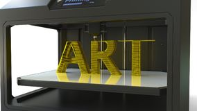 Utskrift av guld- KONSTtext med en skrivare 3D, metall som skrivar ut tolkningen 3D Royaltyfri Foto
