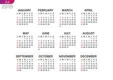 Utskrift av kalendern för 2019 vektor illustrationer