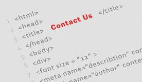 Utskrivaven html-kod för kontakt oss sida royaltyfria foton