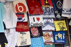 Utskrivaven skärm för Cambodja turismlogo på t-skjortan Arkivbild