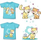 Utskrivaven ungeskjorta med gulligt förälskat för katt Arkivfoton