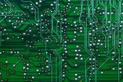 Utskrivavet grönt datorströmkretsbräde Royaltyfria Foton