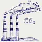 Utsläpp från kolkraftväxten Fotografering för Bildbyråer
