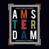 Utslagsplats för design för Amsterdam stadstypografi vektor illustrationer