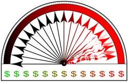 utslitet räkneverk för dollar Arkivfoto