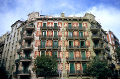 utsmyckad barcelona byggnad Royaltyfri Fotografi