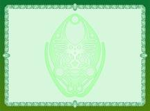 Utsmyckad batik för grön ram Fotografering för Bildbyråer