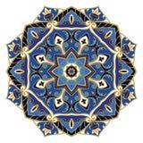 Utsmyckad blå mandala Arkivfoto