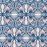 Utsmyckad blom- damast sömlös modell Över hela bakgrund för trycksymmetrivektor Stil för mode för sommarboho kvinnlig moderiktigt royaltyfri illustrationer