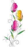 Utsmyckad blommadesign royaltyfri illustrationer
