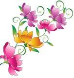 Utsmyckad blommagrupp för hälsningskort Arkivbilder