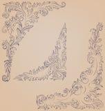Utsmyckad dekorerad barock roccoco för hörnbeståndsdel Royaltyfri Foto