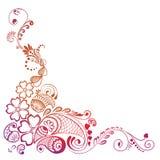 Utsmyckad dekorerad mehndi för hörnbeståndsdel Royaltyfria Foton