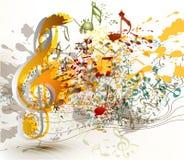 Utsmyckad G-klav för konst med färgrik färgstänk, notsystem och anmärkningar fo Arkivbilder