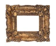 Utsmyckad guld- barock ram som isoleras på den vita bakgrunden royaltyfri fotografi