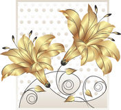 Utsmyckad guld- blommadesign Fotografering för Bildbyråer