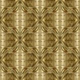 Utsmyckad guld- texturerad sömlös modell för vektor 3d Mönstrad grek vektor illustrationer