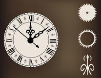 Utsmyckad klocka med designbeståndsdelkugghjul Royaltyfri Foto