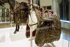 Utsmyckad sadel med den guld broderade röda torkduken Royaltyfri Fotografi