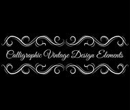 Utsmyckad snirkel, dekorativa designbeståndsdelar Tappningkaraktärsteckninggränser Calligraphic tappningdesignbeståndsdel vektor stock illustrationer