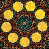 Utsmyckad stiliserad orientalisk design med runda åtta Arkivbilder