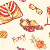 Utsmyckad tillbehör, gjord randig sadelpåsetyp, exponeringsglas, lädersadelskor, färgrik klubba, fjäder och röd ros royaltyfri illustrationer