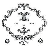 Utsmyckade bläddra smyckningar, tappningstilsymboler, ramar och blommor Arkivbild