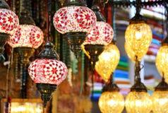 Utsmyckade glass lampor Arkivbilder