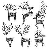 Utsmyckade hjortar, skissar för din design royaltyfri illustrationer