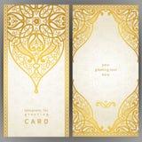 Utsmyckade kort för tappning i orientalisk stil Royaltyfria Bilder