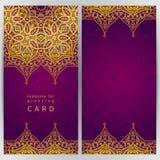 Utsmyckade kort för tappning i orientalisk stil Royaltyfri Foto