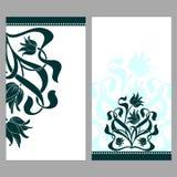 Utsmyckade kort för tappning med blommor och krullning Royaltyfri Fotografi